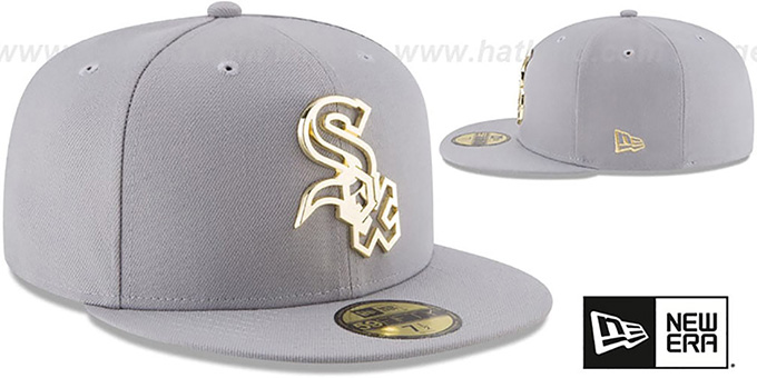 new concept 33eb8 f234b ... White Sox  GOLD FRAMED METAL-BADGE  Grey Fitted Hat by New Era ...