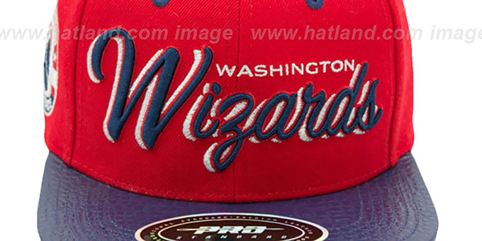 Wizards 'DROP SHADOW SCRIPT STRAPBACK' Red-Navy Hat by Pro Standard