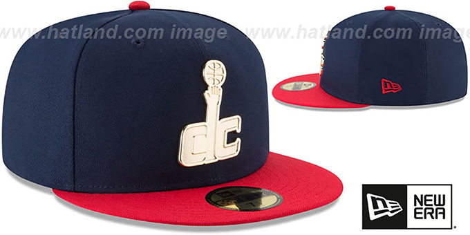 Wizards 'GOLDEN-BADGE' Navy-Red Fitted Hat by New Era