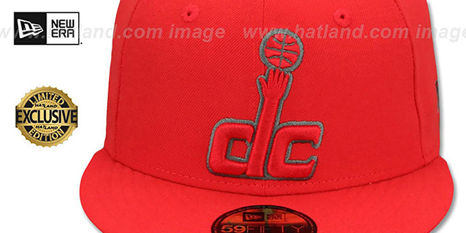 Wizards 'NBA TEAM-BASIC' Fire Red-Charcoal Fitted Hat by New Era
