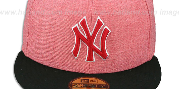 Yankees '2T-HEATHER' Red-Black Fitted Hat by New Era