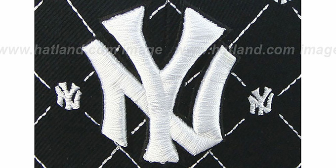 Yankees 'KINGSTON ALL-OVER' Black-White Fitted Hat by American Needle