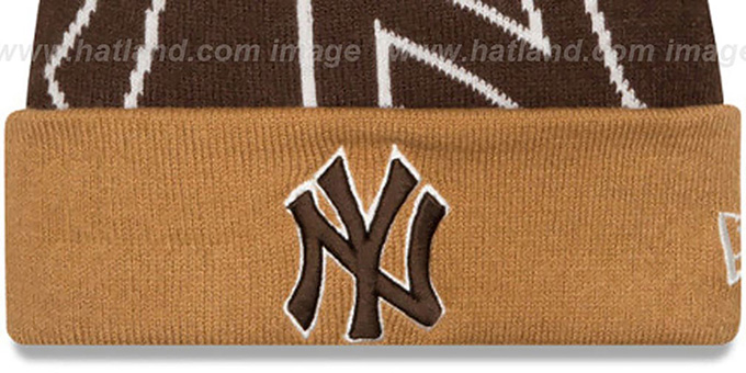 Yankees 'LOGO WHIZ' Brown-Wheat Knit Beanie Hat by New Era