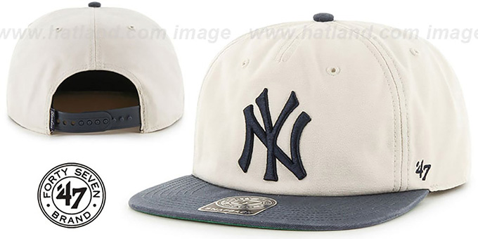 Yankees 'MARVIN SNAPBACK' Ivory-Navy Hat by Twins 47 Brand