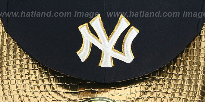 Yankees 'METALLIC SLITHER' Navy-Gold Fitted Hat by New Era