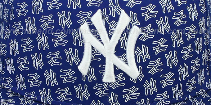 Yankees 'NY ALL-OVER FLOCKING' Royal-White Fitted Hat by New Era