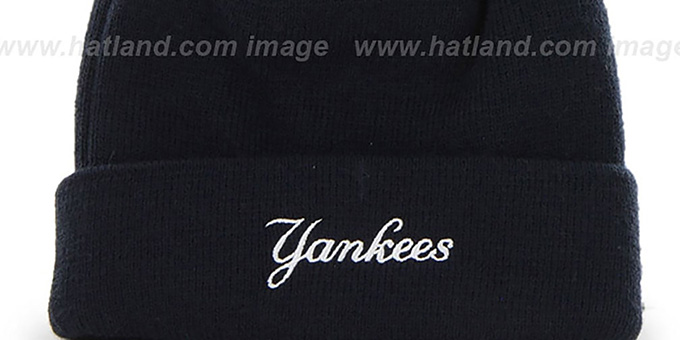 Yankees 'POMPOM CUFF' Navy Knit Beanie Hat by Twins 47 Brand