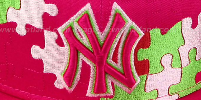 Yankees 'PUZZLE' Pink Fitted Hat by New Era