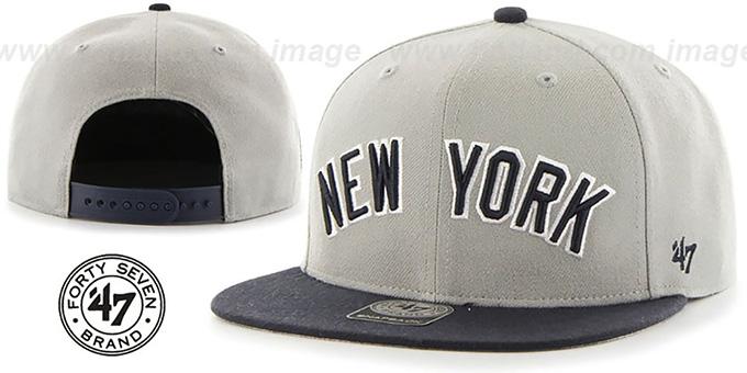 5f55783d507bd ... Yankees  SCRIPT-SIDE SNAPBACK  Grey-Navy Hat by Twins 47 Brand ...