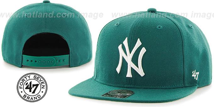 f5e67bc1dbf35 ... Yankees  SURE-SHOT SNAPBACK  Aqua Hat by Twins 47 Brand ...