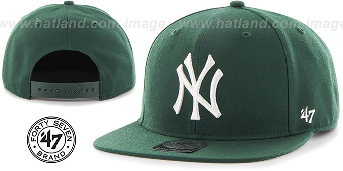 Yankees 'SURE-SHOT SNAPBACK' Green Hat by Twins 47 Brand