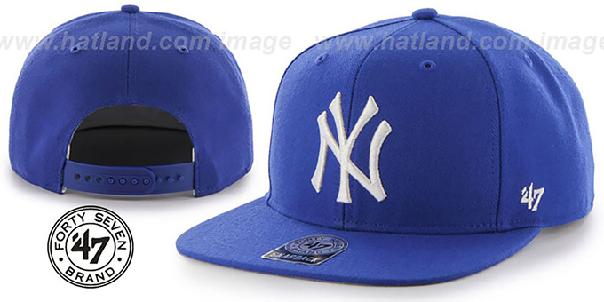 01b78b293bc ... Yankees  SURE-SHOT SNAPBACK  Royal Hat by Twins 47 Brand ...