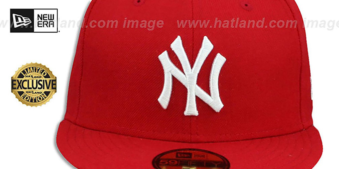 Yankees 'TEAM-BASIC' Red-White Fitted Hat by New Era