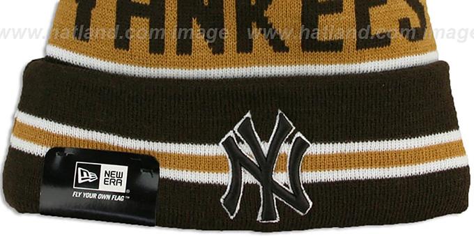 37ba93430a2 ... Yankees  THE-COACH  Brown-Wheat Knit Beanie Hat by New Era ...