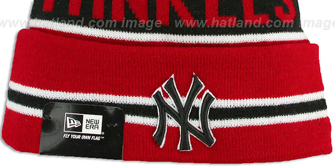 Yankees 'THE-COACH' Red-Black Knit Beanie Hat by New Era-BlackY
