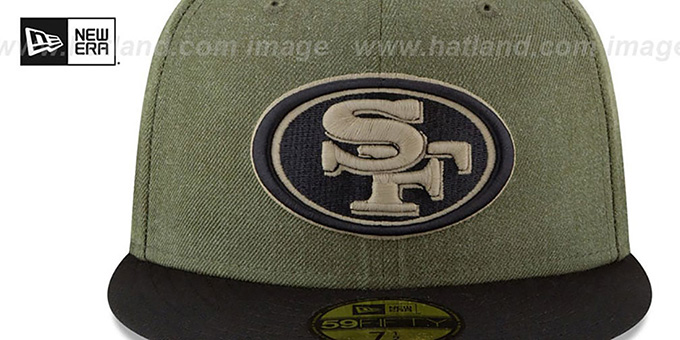 49ers '2018 SALUTE-TO-SERVICE' Olive-Black Fitted Hat by New Era