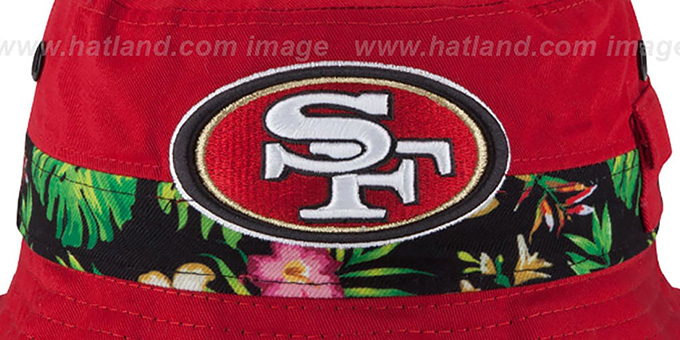 49ers 'BLOOM SUB-BANDED' Red Bucket Hat by New Era