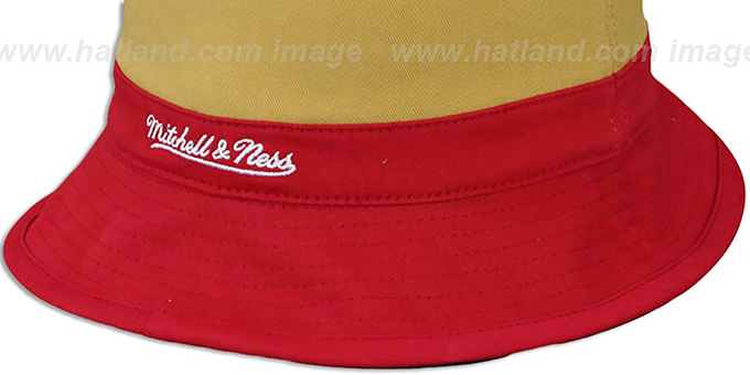 49ers 'COLOR-BLOCK BUCKET' White-Gold-Red Hat by Mitchell and Ness