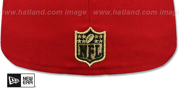 49ers 'GOLD METAL-BADGE' Red-Black Fitted Hat by New Era