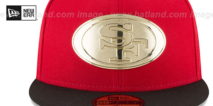 49ers 'GOLDEN-BADGE' Red-Black Fitted Hat by New Era