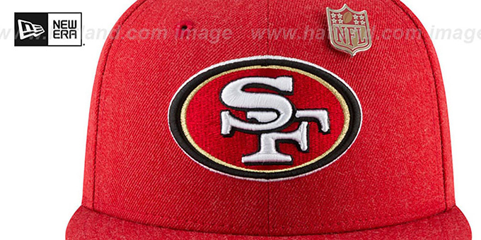 49ers 'HEATHERED-PIN' Red Fitted Hat by New Era