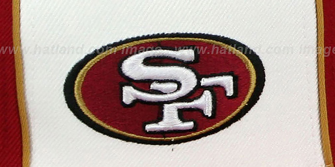 49ers 'NFC DOUBLE LOGO' White-Burgundy Fitted Hat by Reebok