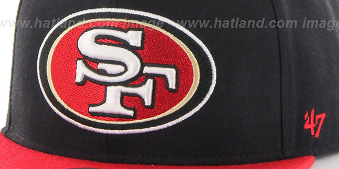49ers 'SUPER-SHOT STRAPBACK' Black-Red Hat by Twins 47 Brand