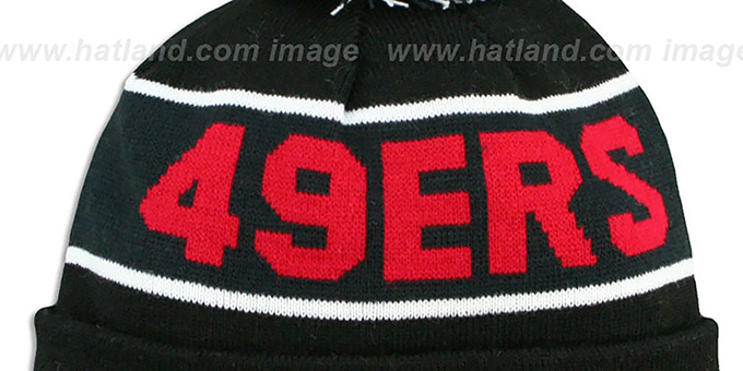 49ers 'THE-COACH' Black-Black Knit Beanie Hat by New Era