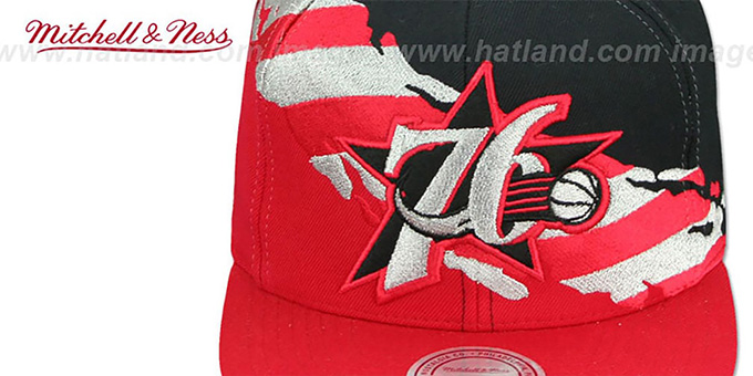 76ers 'BRUSHED FLAG SNAPBACK' Black-Red Hat by Mitchell and Ness