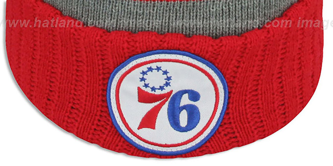 76ers 'HIGH-5 CIRCLE BEANIE' Grey-Red by Mitchell and Ness