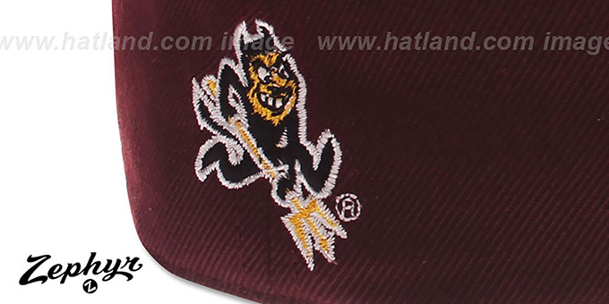 Arizona State 'DH' Fitted Hat by Zephyr - burgundy