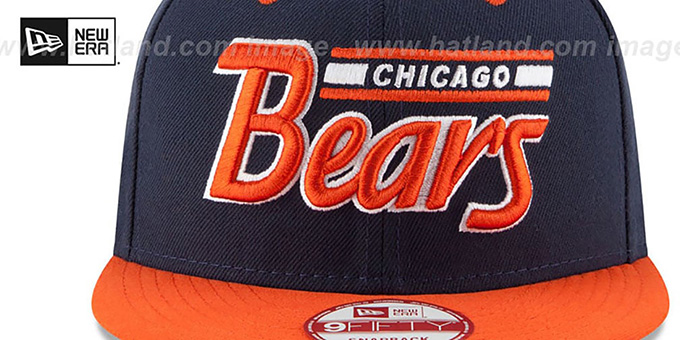 Bears '2T RETRO-SCRIPT SNAPBACK' Navy-Orange Hat by New Era