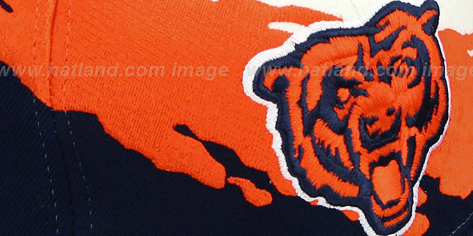 Bears 'PAINTBRUSH SNAPBACK' White-Orange-Navy Hat by Mitchell & Ness