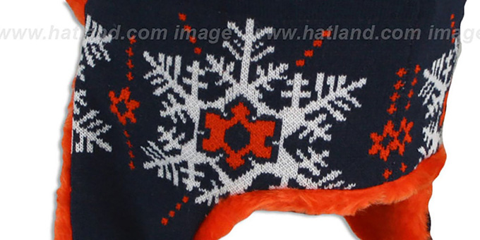 Bears 'SNOWFLAKE TRAPPER' Navy-Orange Knit Hat by New Era