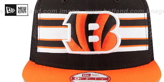 Bengals 'THROWBACK-STRIPE SNAPBACK' Black-Orange Hat by New Era