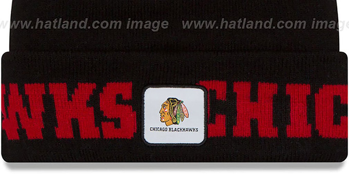 Blackhawks 'COLOSSAL-TEAM' Black Knit Beanie Hat by New Era