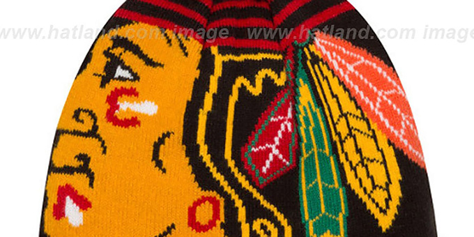 Blackhawks 'LOGO WHIZ' Black-Red Knit Beanie Hat by New Era