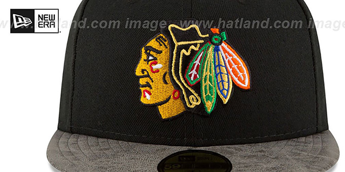 Blackhawks 'RUSTIC-VIZE' Black-Grey Fitted Hat by New Era