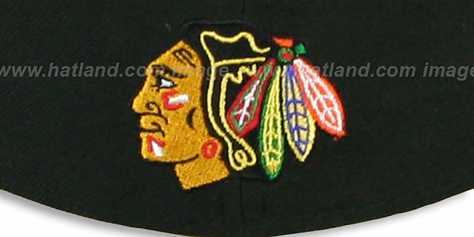 Blackhawks 'TECH MARK' Black-Red Fitted Hat by New Era