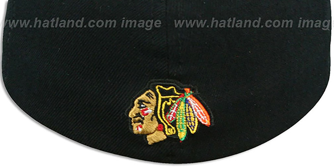 09313d8490f64 Chicago Blackhawks UGLY SWEATER FLEX Black-Red Hat by Zephyr