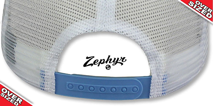 Blank 'OVER-SIZED MESH-BACK SNAPBACK' Sky-White Hat by Zephyr