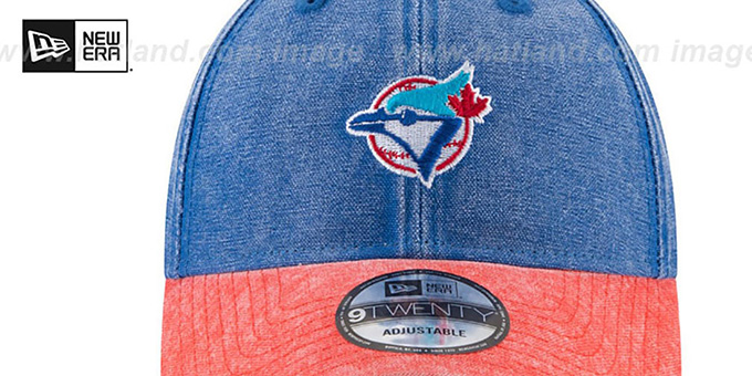 Blue Jays 'GW COOP RUGGED CANVAS STRAPBACK' Royal-Red Hat by New Era