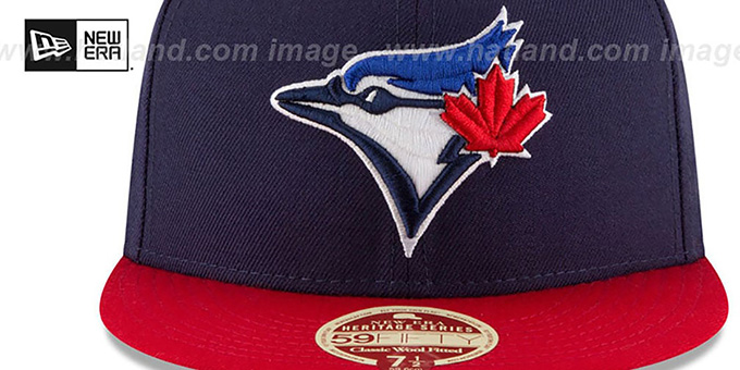 Blue Jays 'MLB WOOL-STANDARD' Navy-Red Fitted Hat by New Era