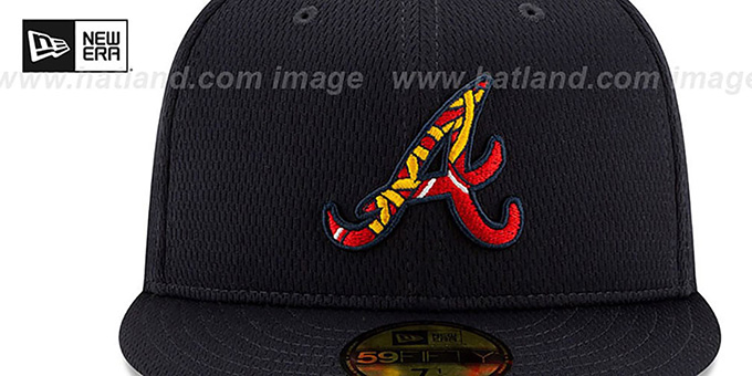 Braves 'DASHMARK BP' Navy Fitted Hat by New Era