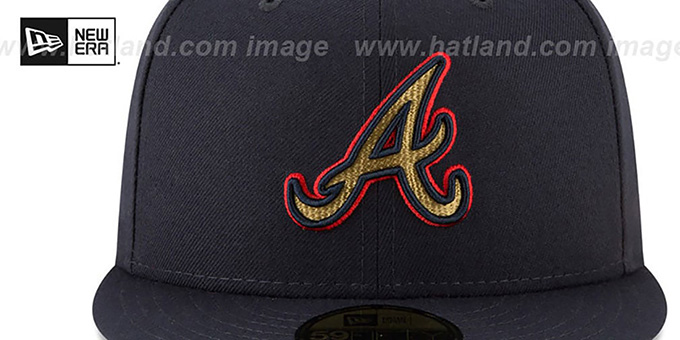 Braves 'GOLD METALLIC STOPPER' Navy Fitted Hat by New Era