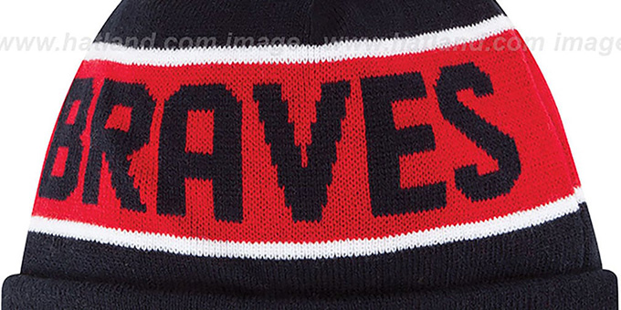 Braves 'THE-COACH' Navy Knit Beanie Hat by New Era