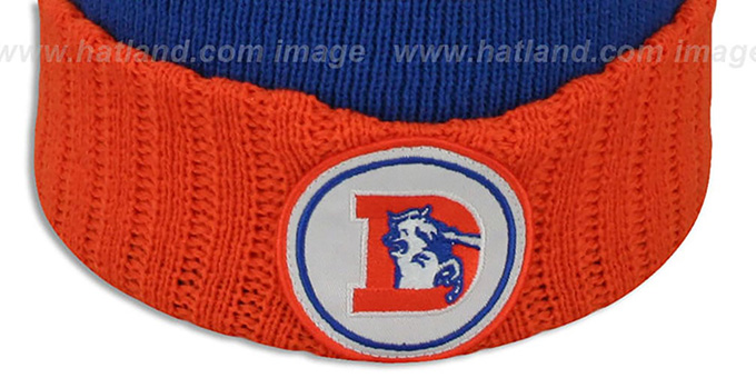 Broncos 'HIGH-5 CIRCLE BEANIE' Royal-Orange by Mitchell and Ness