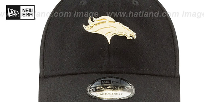 Broncos 'MINI GOLD METAL-BADGE STRAPBACK' Black Hat by New Era
