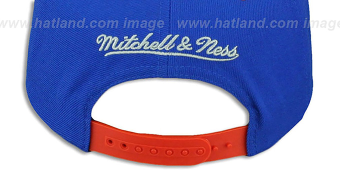 Broncos 'TRIANGLE-SCRIPT SNAPBACK' Royal-Orange Hat by Mitchell and Ness