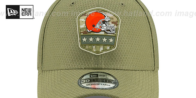 Browns '2019 SALUTE-TO-SERVICE FLEX' Olive Hat by New Era